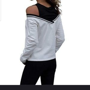 Sweaters - Super cute white sweater with black built in tank